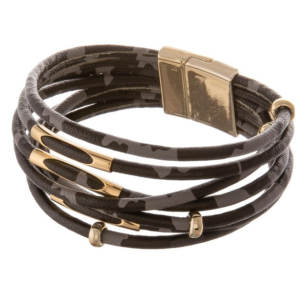 """Faux leather multi strand leopard print magnetic bracelet with gold bead accents.  - Magnetic closure - Approximately 3"""" in diameter - Fits up to a 6"""" wrist"""