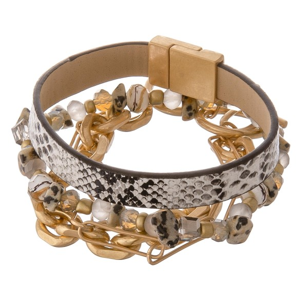 """Semi precious beaded faux leather snakeskin hera link toggle bracelet set.  - 3pcs/pack - Magnetic clasp - Toggle clasp - Stretchy strand - Approximately 3"""" in diameter - Fits up to a 6"""" wrist"""