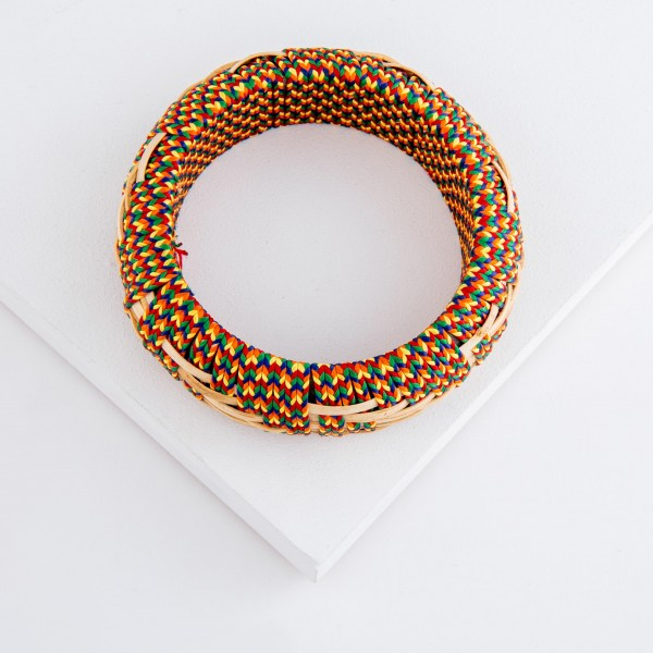 "Multicolor ethnic embroidered bangle statement bracelet.  - Approximately 3"" in diameter - Fits up to a 6"" wrist"