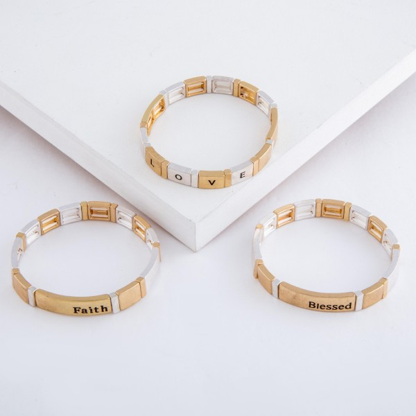 """Worn enamel coated """"Blessed"""" stamped color block stretch bracelet.  - Approximately 3"""" in diameter unstretched - Fits up to a 7"""" wrist"""