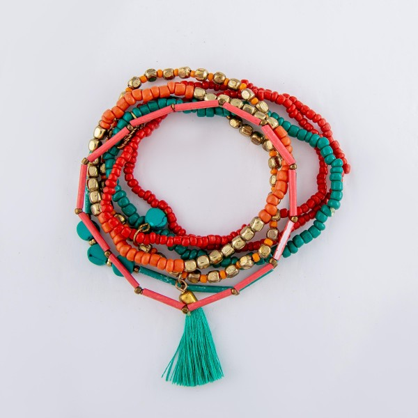"Coral Teal Semi Precious Tube Beaded Boho Charm Tassel Bracelet Set.  - 7pcs/set - Approximately 3"" in diameter - Fits up to a 7"" wrist"