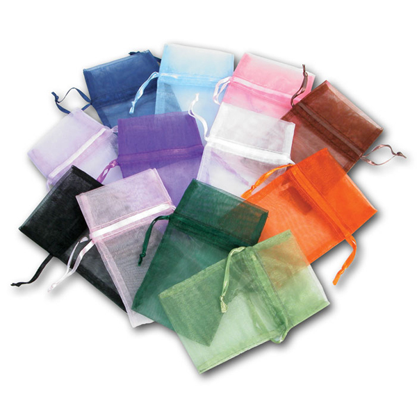 """6.5"""" x 4"""" Assorted Color Organza Gift Bags- navy, black, green, pink, purple, white, peach, blue, orange, lime green, brown, and lavender! 12 count package - Great for gift wrapping or sending you merchandise home in style!"""
