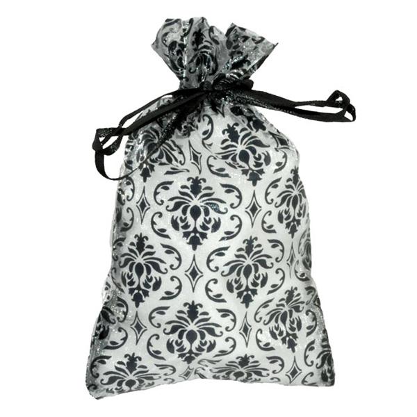 """5.5"""" x 3"""" Damask Organza Gift Bags - 12 count, drawstring closure"""