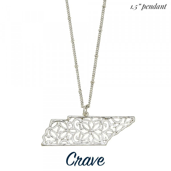"""Long metal necklace featuring a state cutout filigree pendant. Approximate 30"""" in length with 1.5"""" pendant."""