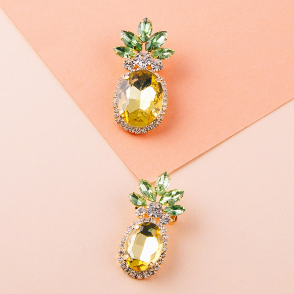 "Rhinestone pineapple blouse pin. Approximately 1.5"" in length."
