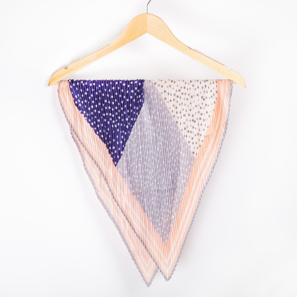 "Bordered polka dot pleated dia scarf. 100% polyester. Approximate 28x28"" in length."