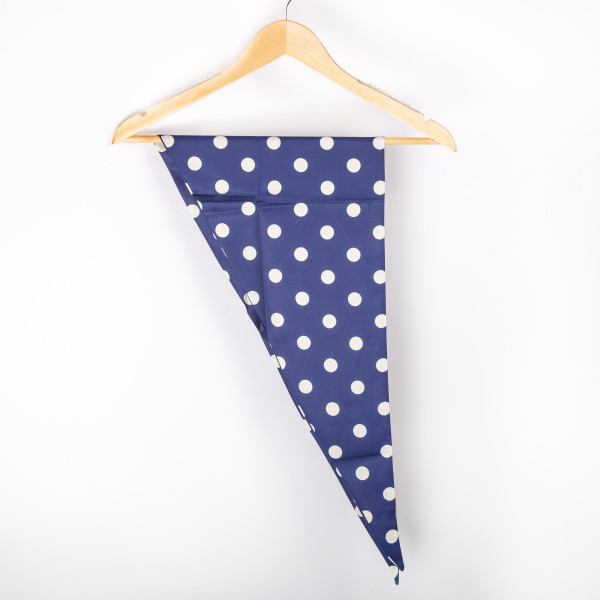 """Polkadot triangle scarf. 100% polyester. Approximate 46"""" in length."""
