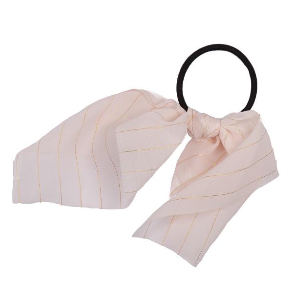 Blush gold stripe scrunchie.