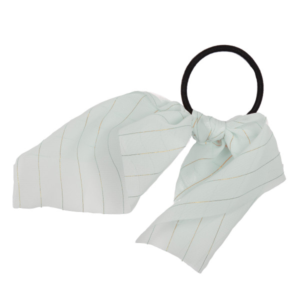 Mint gold stripe scrunchie.