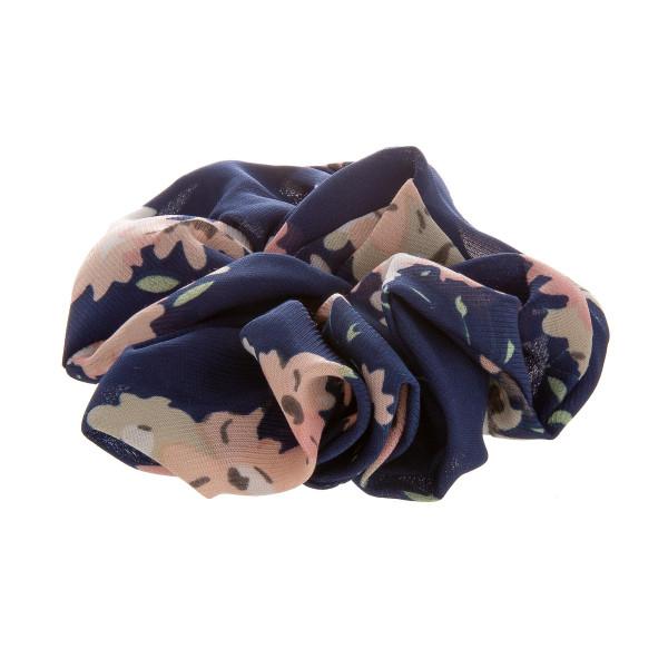 Navy floral scrunchie.