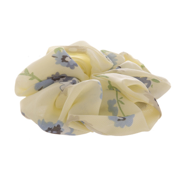 Yellow floral scrunchie.