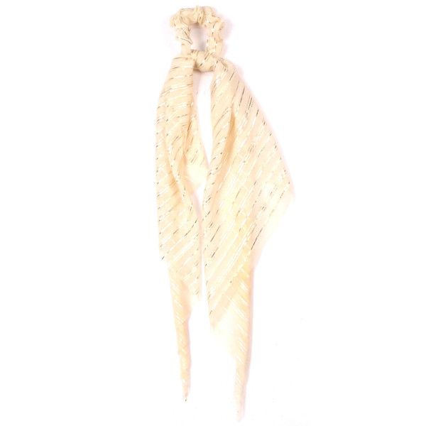 Metallic striped ponytail scrunchie. 100% polyester.