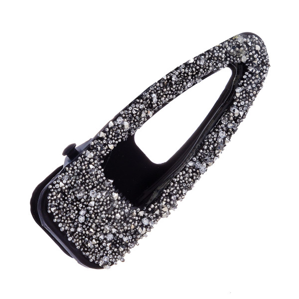 "Hair clip featuring metallic rhinestone details. Approximately 2"" in length."