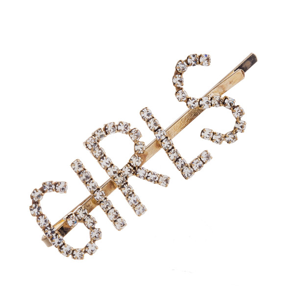 "Gold hair pin featuring ""Girls"" with rhinestone details. Approximately 1.75"" in length."