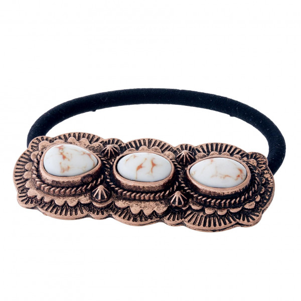 """Western style concho hair tie. Approximately 2.5"""" in diameter."""