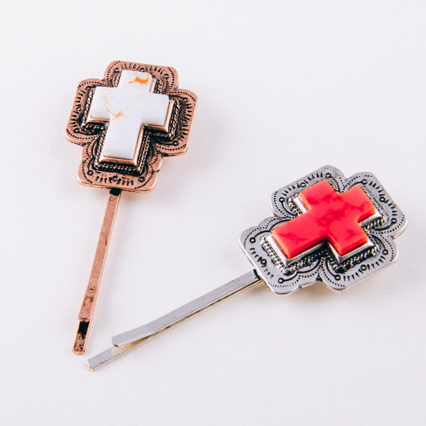 """Western style hair pin with a natural stone detail. Approximately 2"""" in length."""