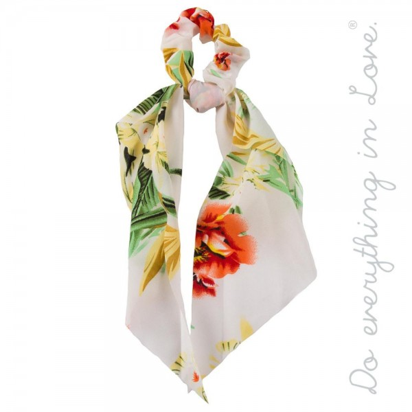 """Floral print hair scarf scrunchie. Approximately 13"""" in length."""