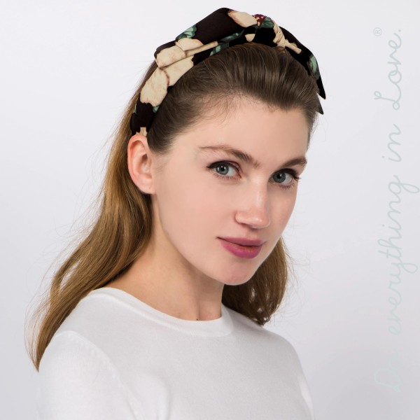 Do everything in Love brand floral print knotted headband.  - One size fits most - 100% Polyester