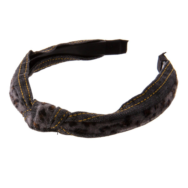 Do everything in Love brand faux fur leopard print denim knotted headband.  - One size fits most - 100% Polyester