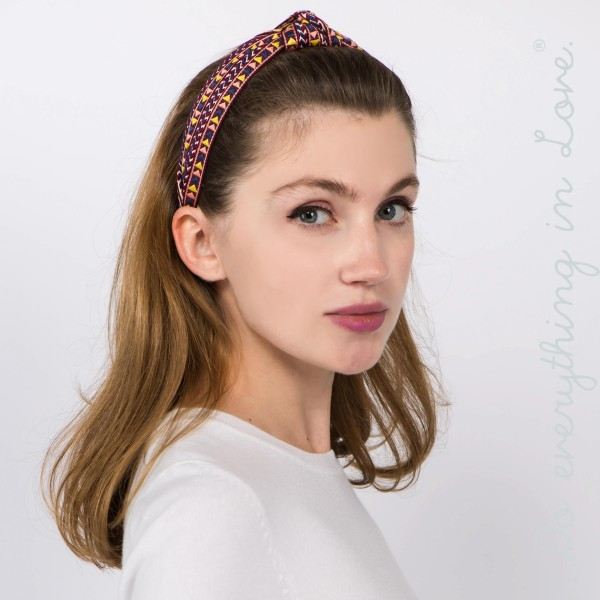 Do everything in Love brand geometric print knotted headband.  - One size fits most adults - 100% Polyester