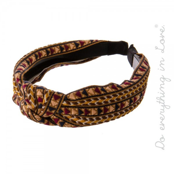 Do everything in Love brand geometric print knotted headband.  - One size fits most - 100% Polyester