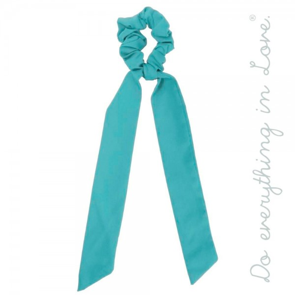 "Do everything in Love brand solid color hair scarf scrunchie.  - Approximately 12"" in length - 100% Polyester"