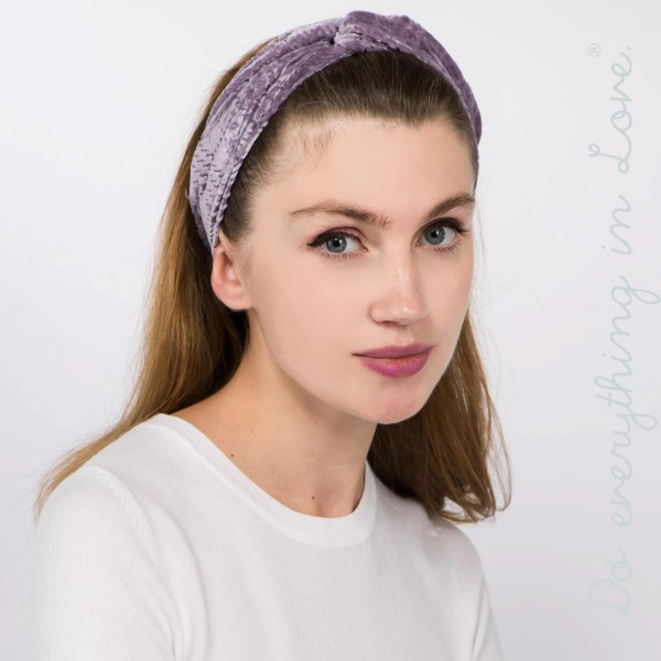 Do everything in Love brand velvet knotted headwrap.  - One size fits most adults - 80% Polyester, 20% Nylon