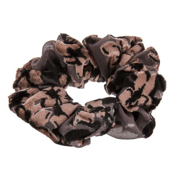 Floral velvet hair scrunchie.  - One size fits most - 80% Polyester, 20% Nylon