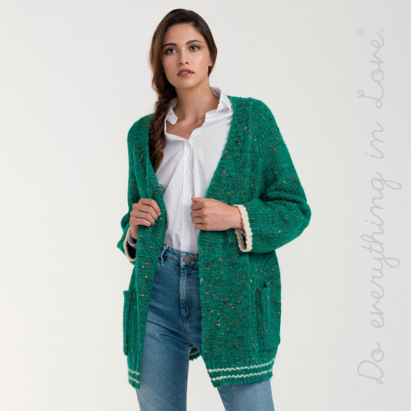"Do everything in Love brand short varsity confetti knit cardigan with front pocket details.  - One size fits most 0-14 - Approximately 25"" in length - 73% Acrylic, 14% Nylon, 10% Wool, 3% Spandex"