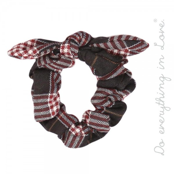 Do everything in Love brand knotted plaid print hair scrunchie.  - One size - 100% Polyester