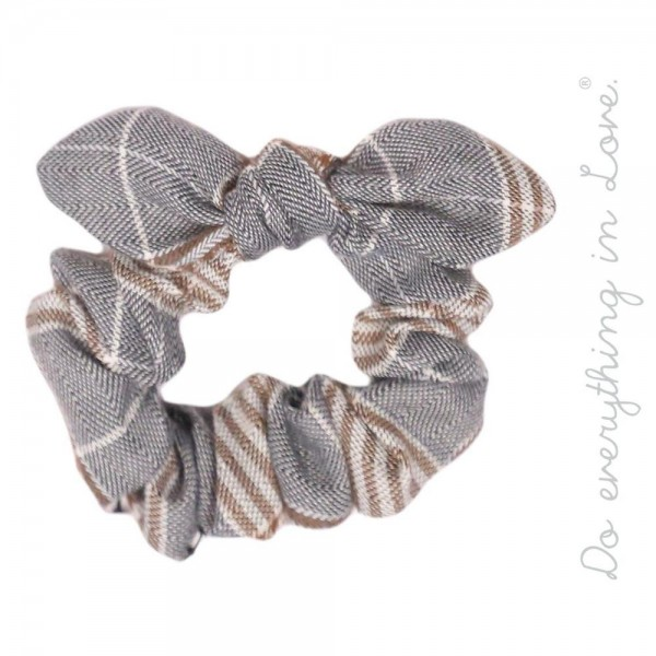 Wholesale do everything Love brand knotted plaid print hair scrunchie One Polyes