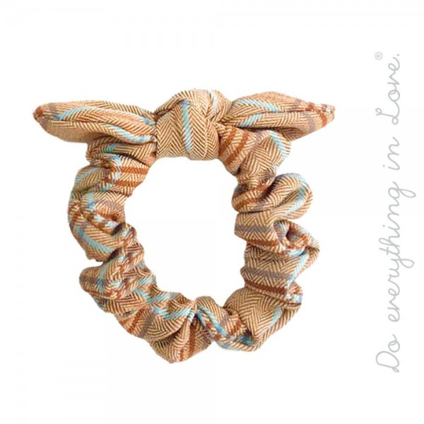 Do everything in Love brand knotted herringbone plaid hair scrunchie.  - One size - 100% Polyester