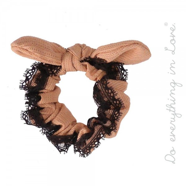 Wholesale do everything Love brand solid color lace trim knotted bow hair scrunc