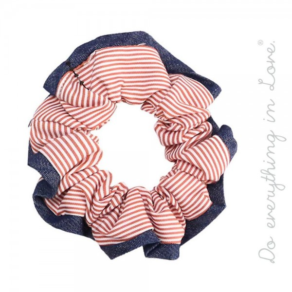 Do everything in Love brand striped binding trim hair scrunchie.  - One size - 100% Polyester