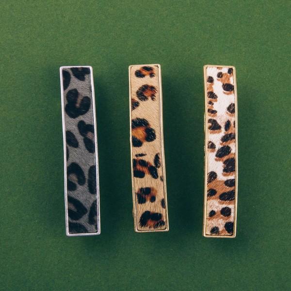 "Faux fur leopard print hair barrette. Approximately 3"" in length."