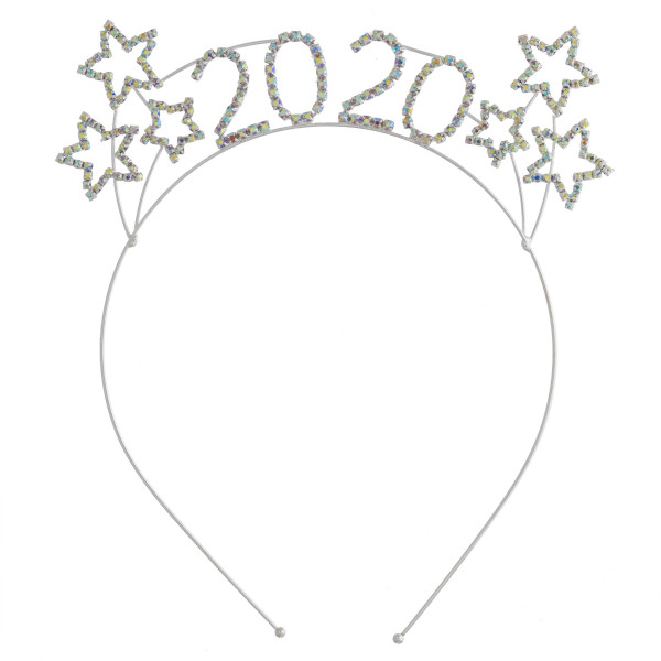 """Multicolor rhinestone """"2020"""" New Years metal headband.   - One size fits most"""