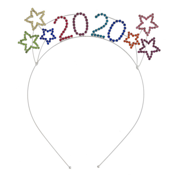 "Multicolor rhinestone ""2020"" New Years metal headband.   - One size fits most"
