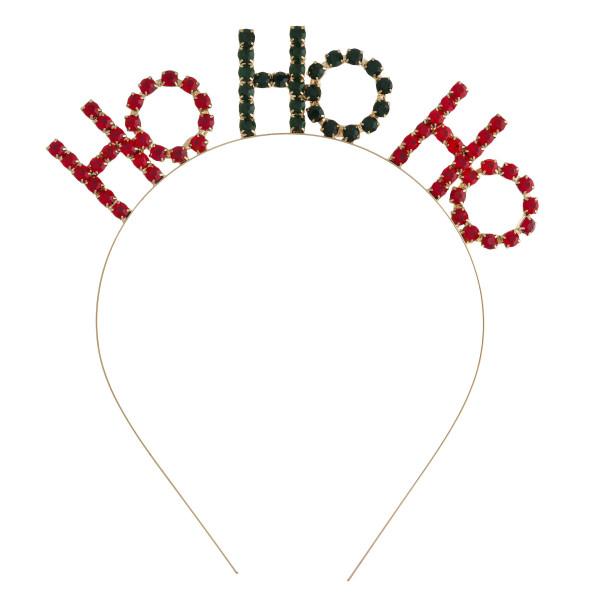 """Rhinestone """"HO HO HO"""" Christmas metal headband.   - One size fits most"""