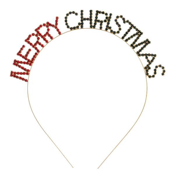 "Rhinestone ""Merry Christmas"" Holiday metal headband.   - One size fits most"