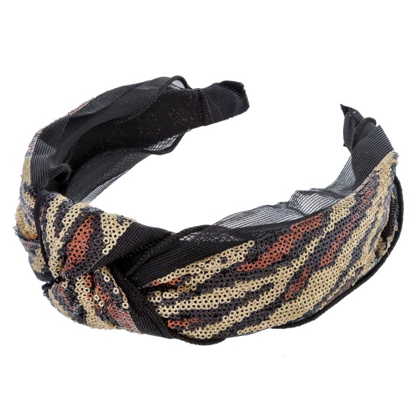 Sequence zebra print knotted headband.  - One size fits most - 100% Polyester