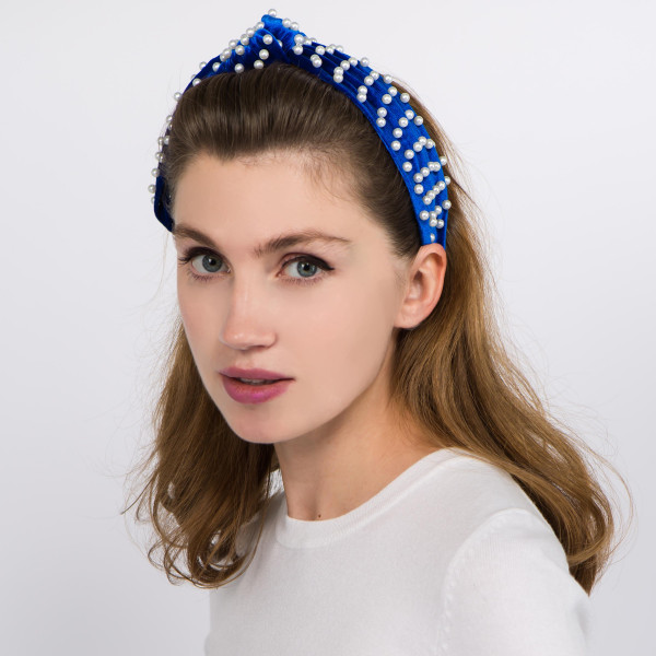 Knotted velvet pearl beaded headband.  -  One size fits most - 100% Polyester