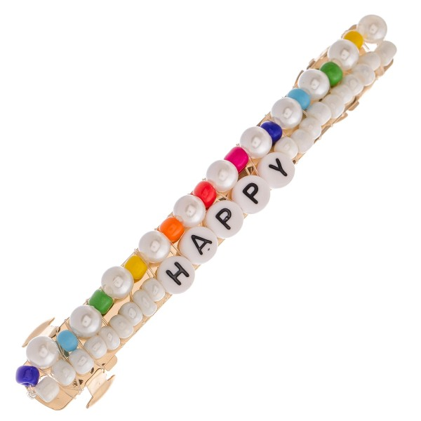"Multicolor Pearl Beaded ""Happy"" Letter Block Hair Barrette.  - Approximately 4"" L"