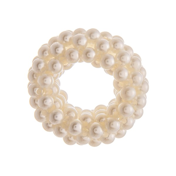 "Small pearl beaded stretch rope scrunchie ponytail hair accessory. Approximately 1"" in diameter."