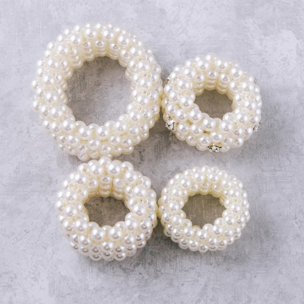 """Medium size pearl beaded stretch rope scrunchie ponytail hair accessory. Approximately 2"""" in diameter."""
