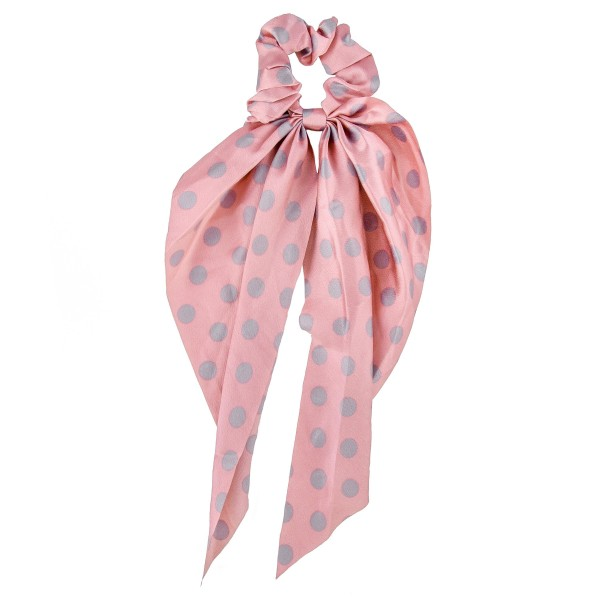 "Polka dot hair scarf scrunchie.  - One size  - Approximately 12"" L - 100% Polyester"