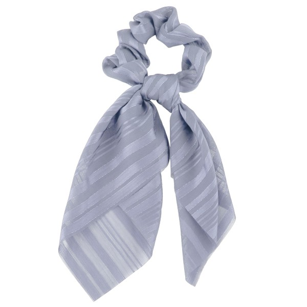"""Sheer metallic pinstripe hair scarf scrunchie.  - One size  - Approximately 8"""" L - 100% Polyester"""