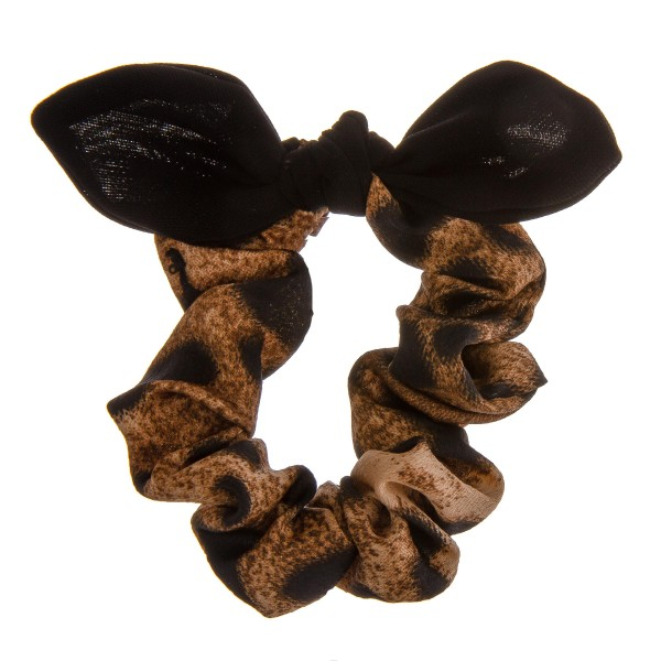 Leopard print bow hair scrunchie.  - One size - 100% Polyester