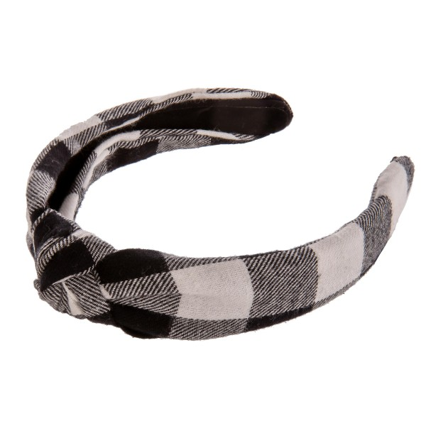 Buffalo check knotted headband.  - One size fits most - 100% Polyester