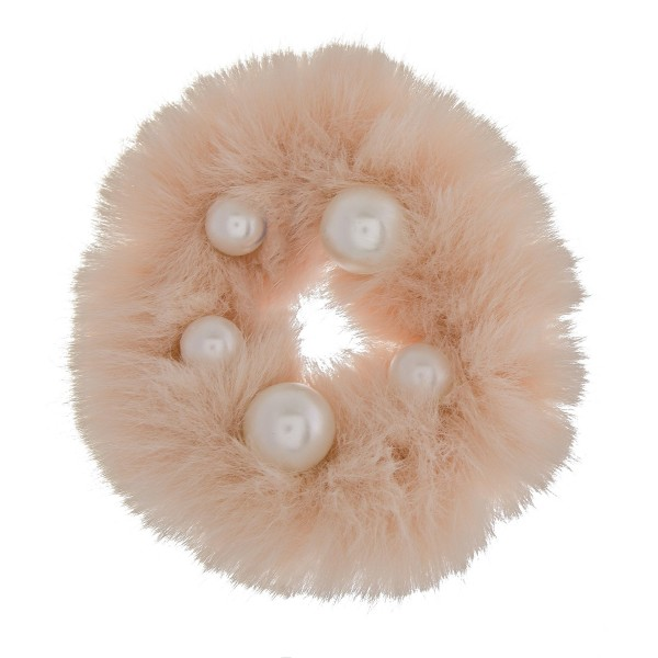 Solid color faux fur pearl hair scrunchie.  - One size  - 100% Polyester