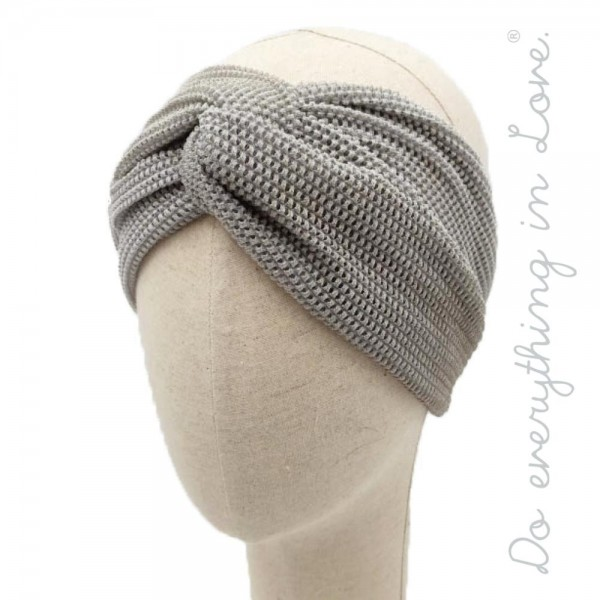 """Do everything in Love brand knotted metallic mesh lace headband.  - Elastic band - One size - Approximately 18"""" in diameter unstretched - 100% Polyester"""